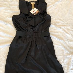 Black ruffle front dress